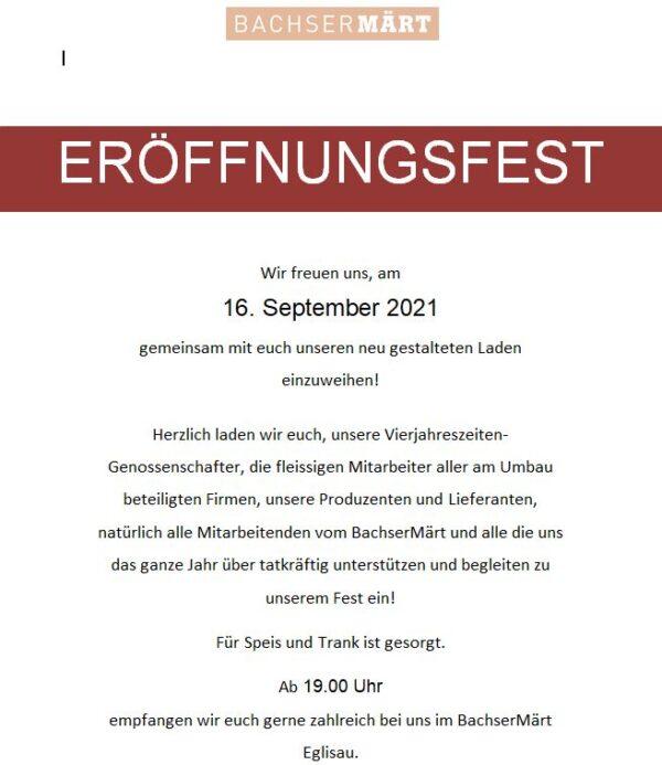 Eröffnungsfest BachserMärt Eglisau